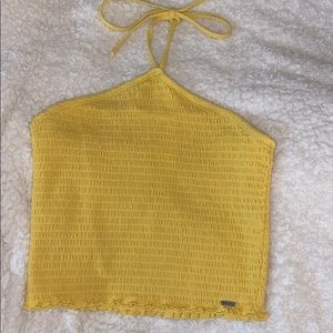 yellow cropped halter top